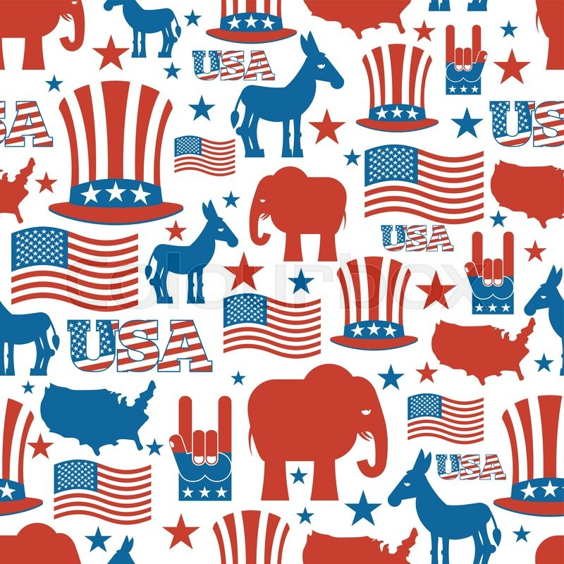 Usa Election Symbols National Pattern Uncle Sam Hat American Flag And Map Democrat Donkey And Republican Elephant Patriotic Background