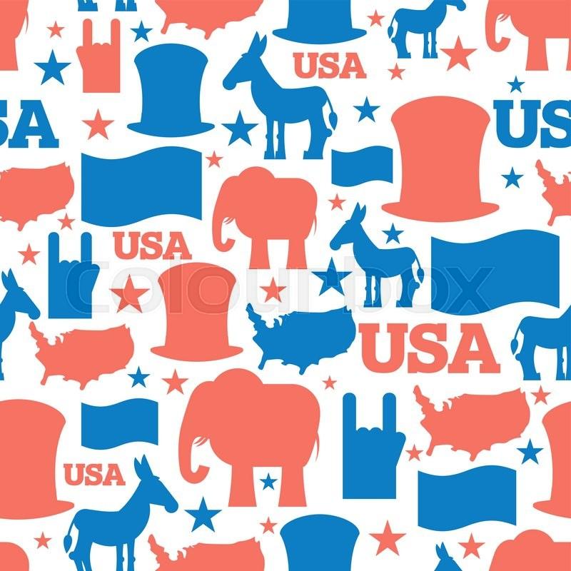 American Seamless Pattern Usa Election Symbols National Pattern
