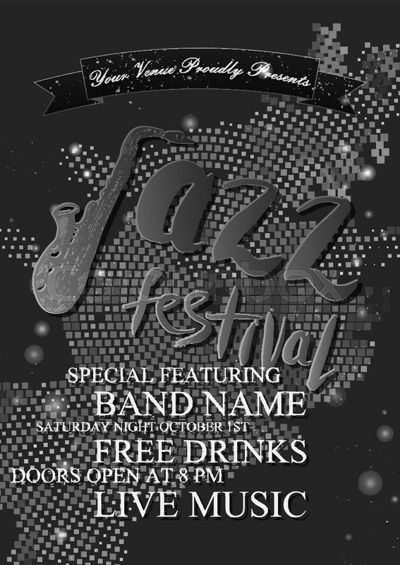 Black and white jazz rock or blues music poster template hand drawn ink stains sax and words jazz festival abstract halftone background for card flyer