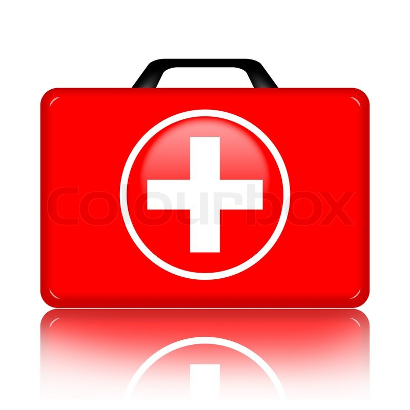 First Aid Kit Isolated Over White Background Stock Photo