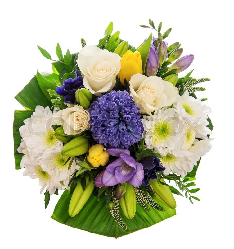 Spring Flowers. Hyacinth, Roses, Tulips Bouquet Over White ...