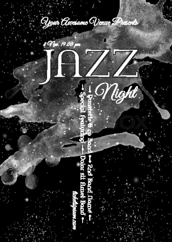Black And White Flyer Template | Black And White Jazz Rock Or Blues Music Poster Template Abstract