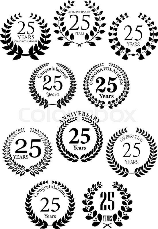 Anniversary heraldic laurel wreaths black symbols with captions greeting card or jubilee invitation and heraldic design usage stock vector colourbox stopboris Images