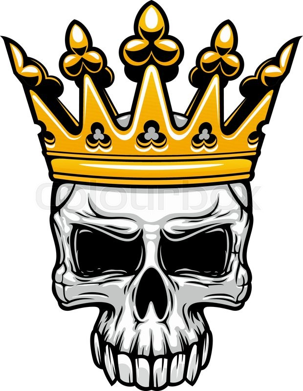 Crowned King Skull Symbol Of Spooky Human Cranium With