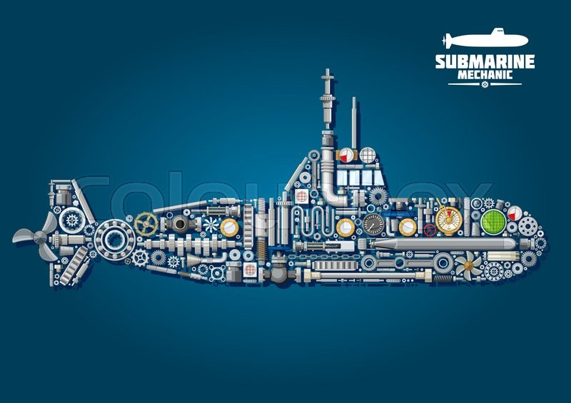 Submarine mechanics scheme with underwater warship composed of ...