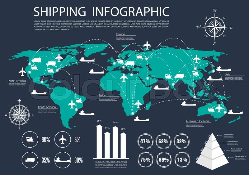 International logistics delivery and shipping service infographics shipping service infographics design with world map and delivery routes of road and rail air and water transport bar graph and diagrams of statistics ccuart Images