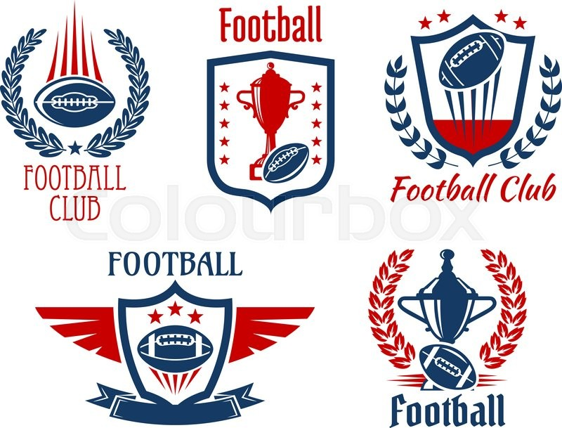 American Football Sport Heraldic Symbols And Icons For Sporting Club