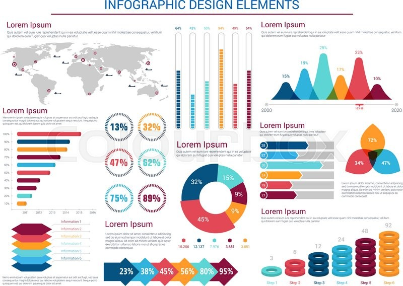 Infographics Design Elements With Pie Charts And Step Diagram With