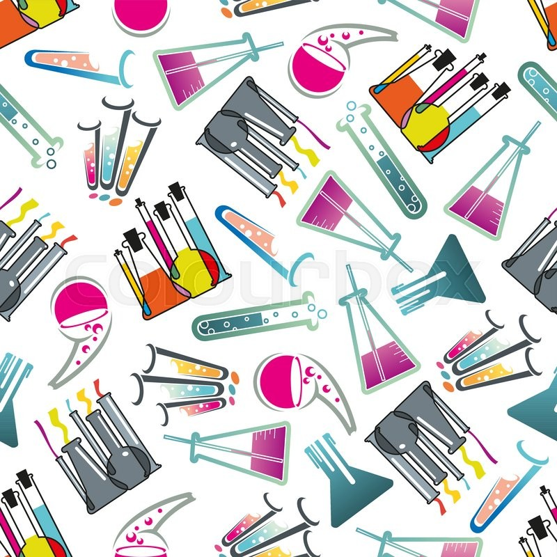 Science Laboratory Background Design: Chemical Laboratory Theme Seamless Pattern With Test Tubes