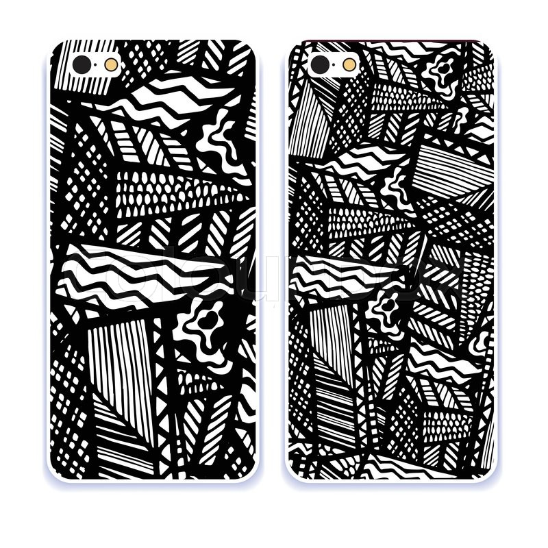 Phone Case Collection Mobile Phone Cover Back And Screen Pattern Vector Illustration Example