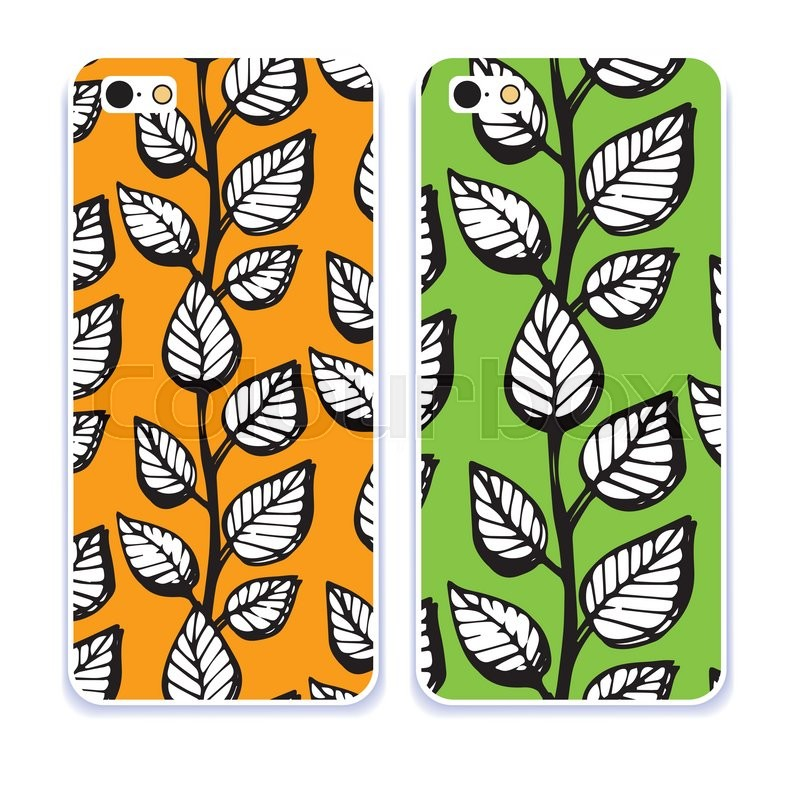 Mobile Phone Cover Back Pattern, Template. Vector Illustration. Editable  Elements Under Clipping Mask  Editable Leaf Template