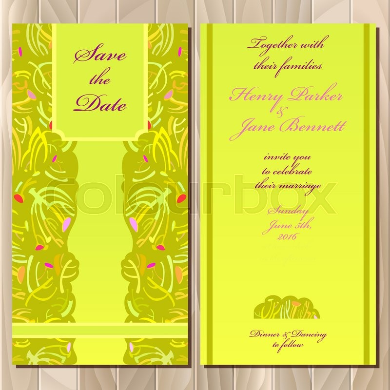 Wedding invitation spring summer green yellow card design ...