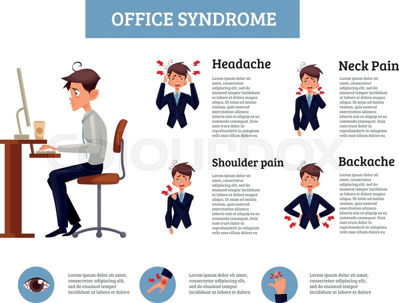 Infographics Office Syndrome Vector Stock Vector