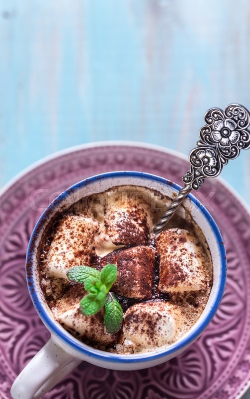 Cup of cocoa with marshmallows and cocoa powder, stock photo