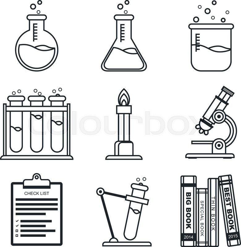 Black lineart icon set chemistry vector icons science vector chemistry vector icons science vector illustration in eps10 vector ccuart Images