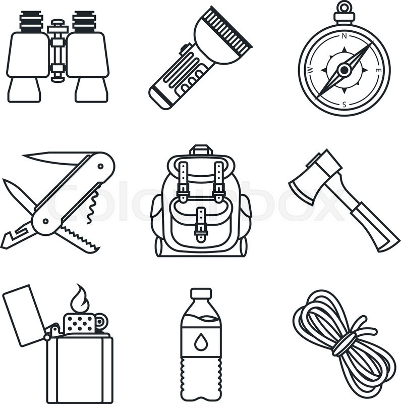 Black Lineart Icon Set Camping Equipment Vector Illustration In Eps10