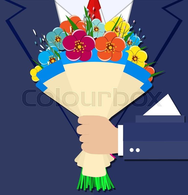 Cartoon businessman hand holding bouquet flowers. vector ...