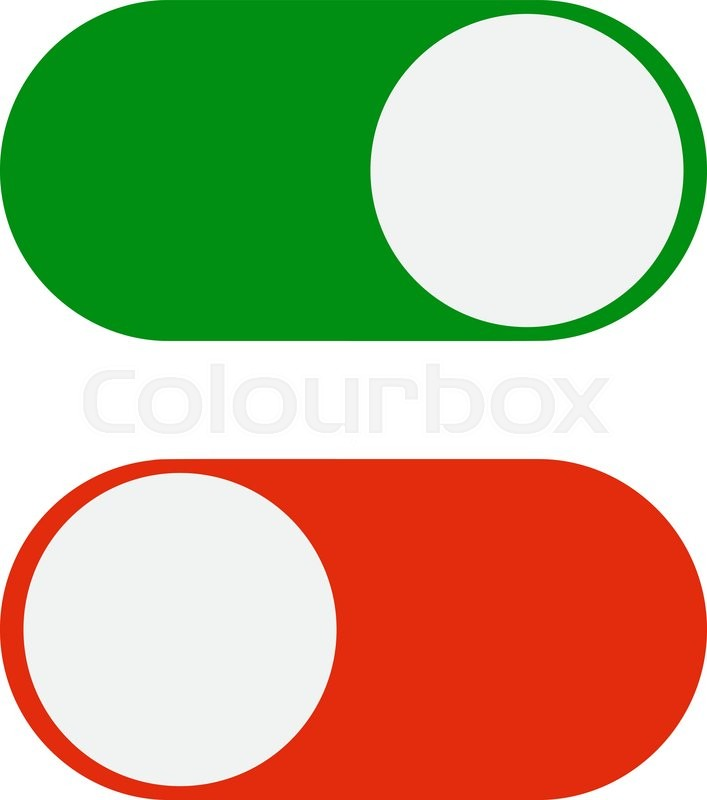 Toggle switch icon, green in on position, red in off, vector ...