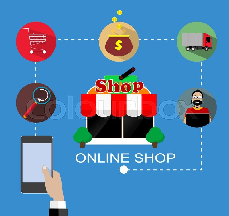 Flat vector design with e commerce and online shopping for Shop mobili online