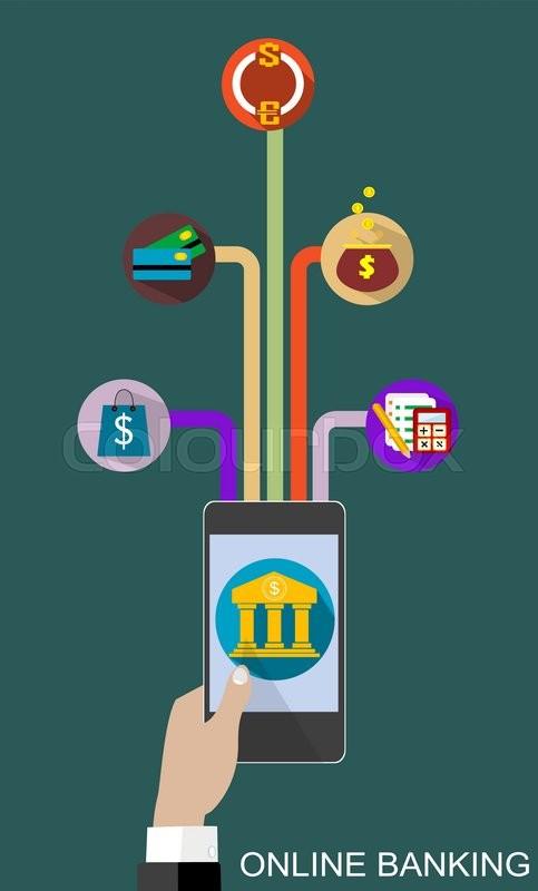 Flat design vector illustration concepts of online banking service ...