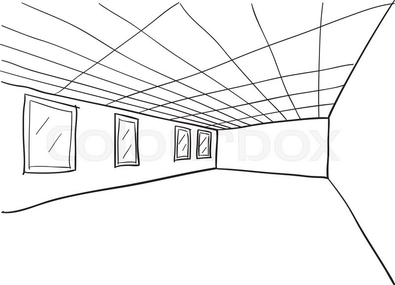 simple room perspective doodle sketch stock vector colourbox