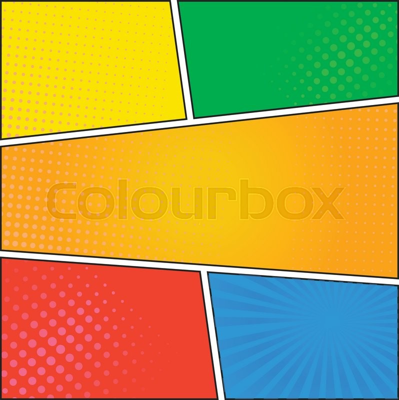 comics pop art style blank layout template with dots pattern on