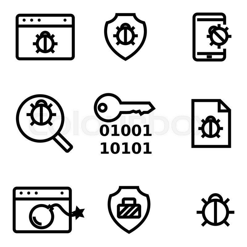 Vector line computer virus icon set. Computer Virus Icon Object ...