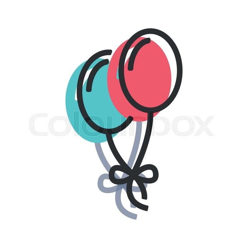 vector line flat balloon icon balloon stock vector