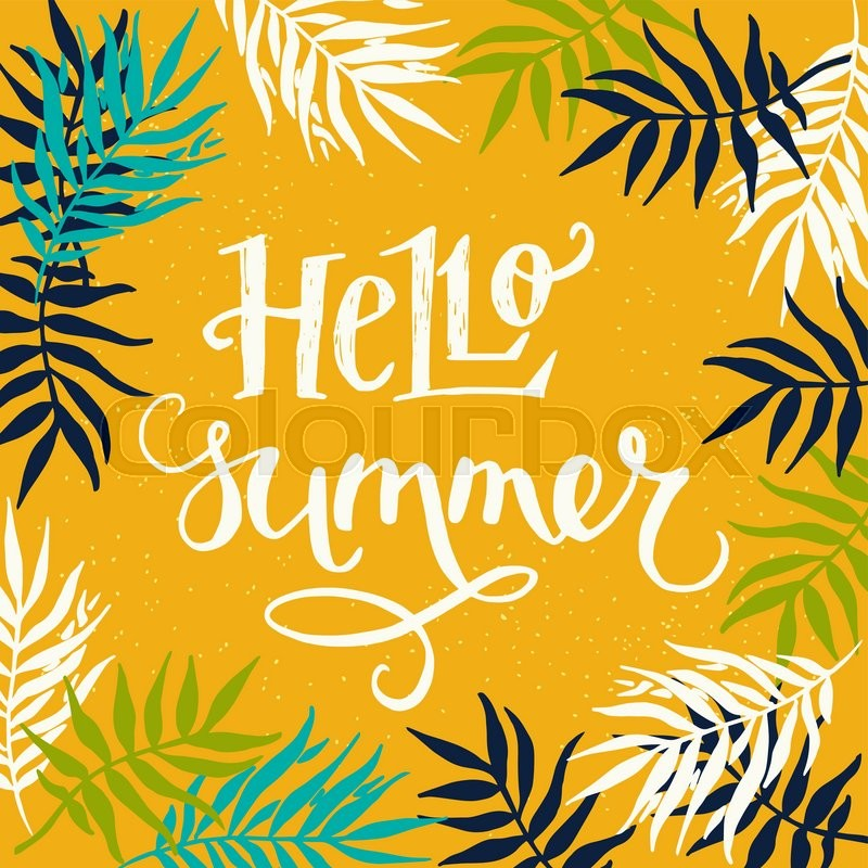 hello summer hand lettering with palm trees frame on yellow