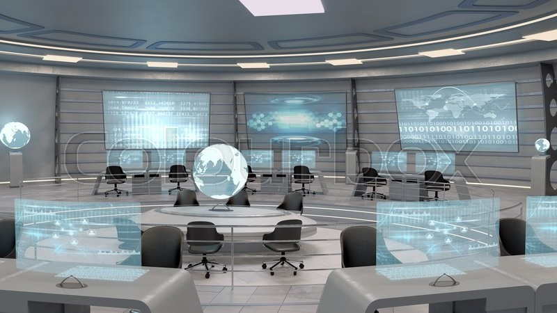 Futuristic Interior View Of Office With Holographic Screen