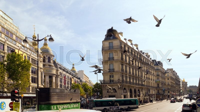 Paris Street. The ancient architecture, pigeons and sky, stock photo