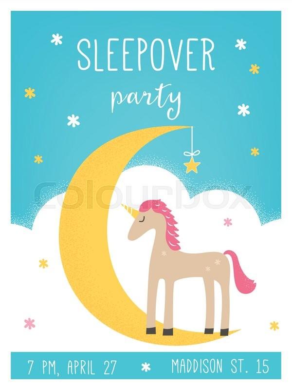 Moon and unicorn pajama sleepover kids39 party invitation card moon and unicorn pajama sleepover kids39 party invitation card template stock vector colourbox stopboris Choice Image
