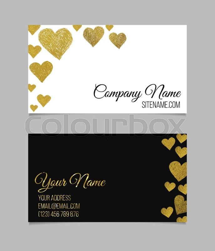 Business card template. Visiting card with golden foil heart shapes ...