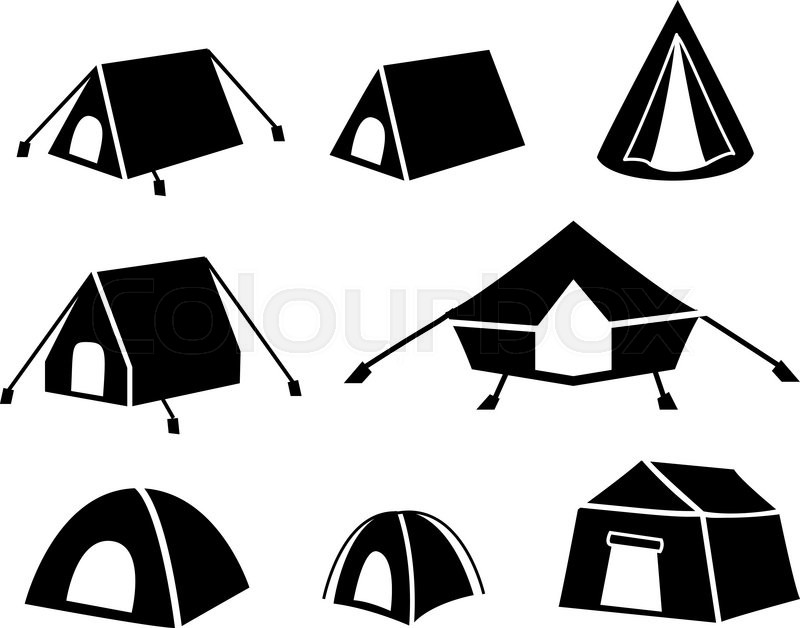 Set of tent icons in silhouette style, vector | Stock ...