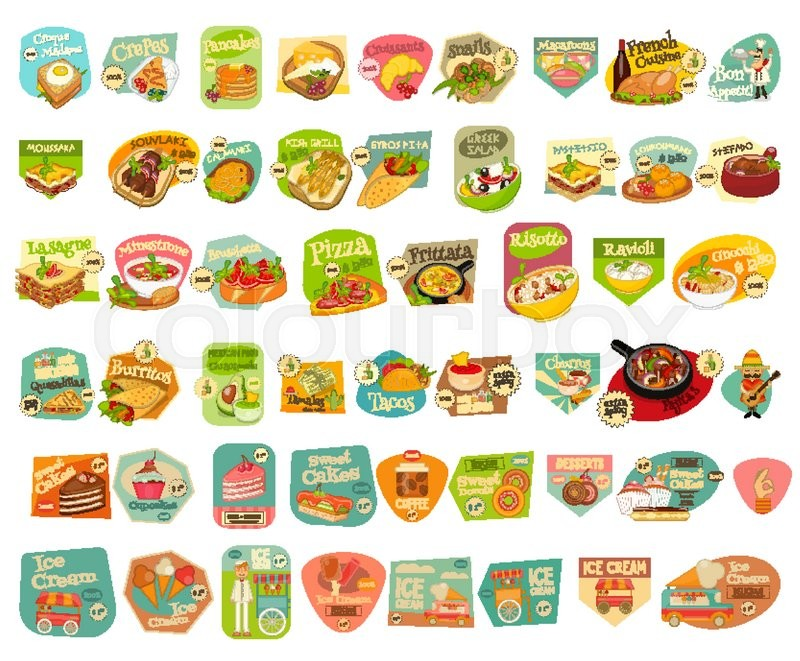 Food Stickers Big Set On White Background  Meal Labels