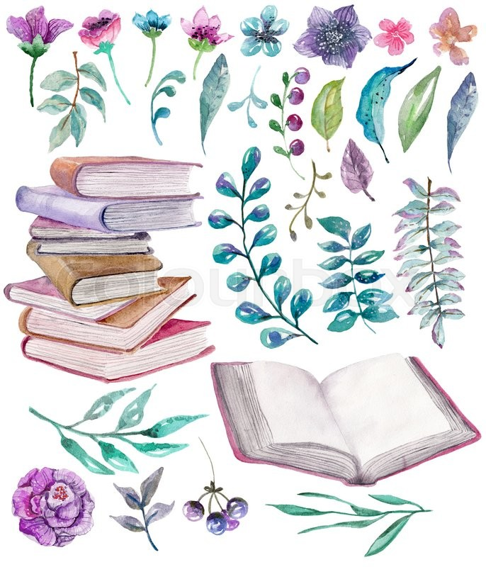 Watercolor floral and nature elements with beautiful old books ...