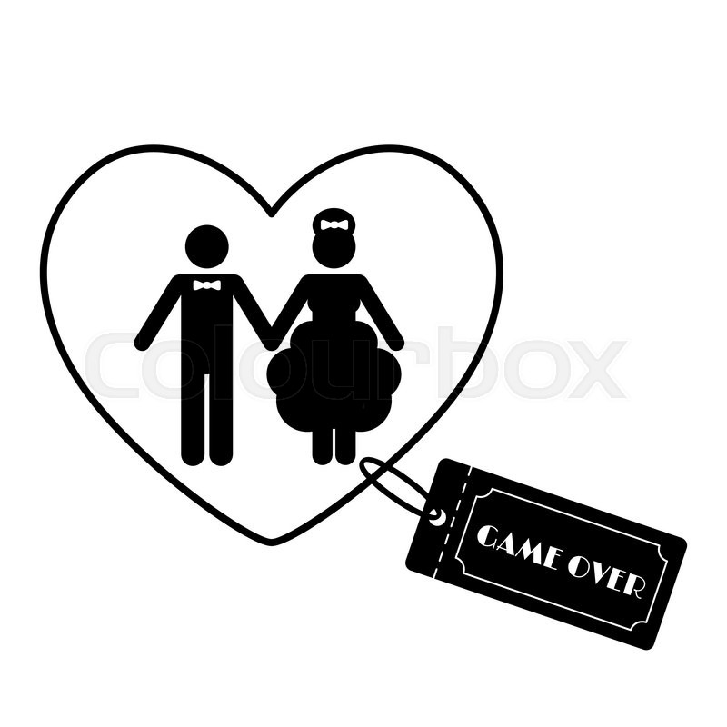 Wedding symbol  Cartoon Funny Wedding Symbols - Game Over. Vector illustration ...
