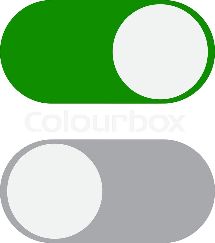 Toggle Switch Icon Green In On Position Grey In Off Vector