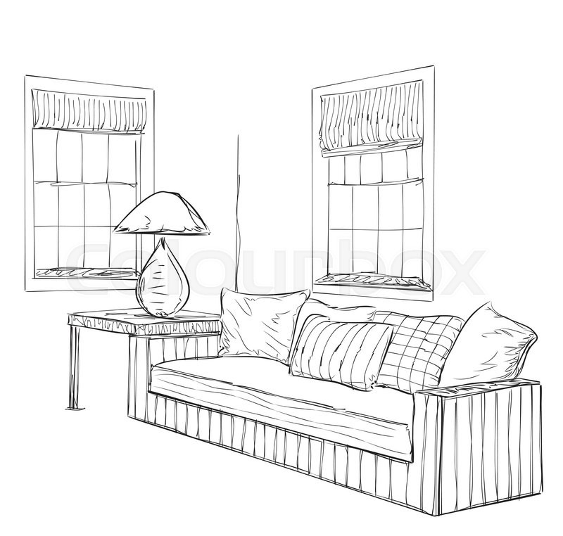 Modern interior room sketch. Hand drawn furniture, vector