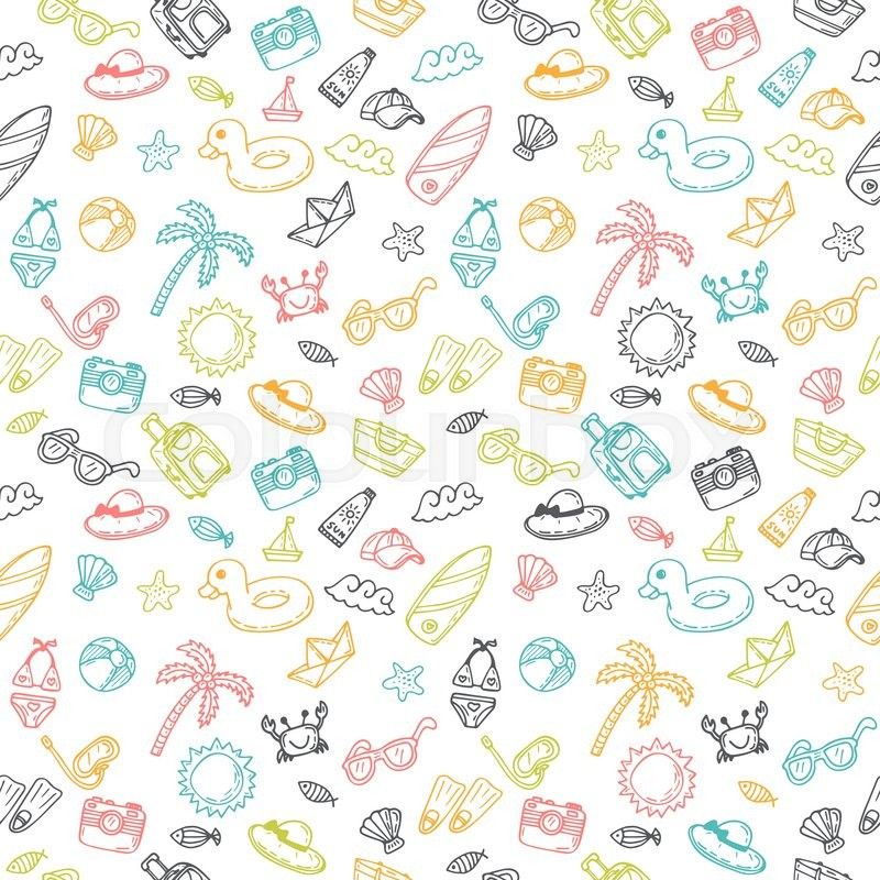 beach theme background cute hand drawn summer theme