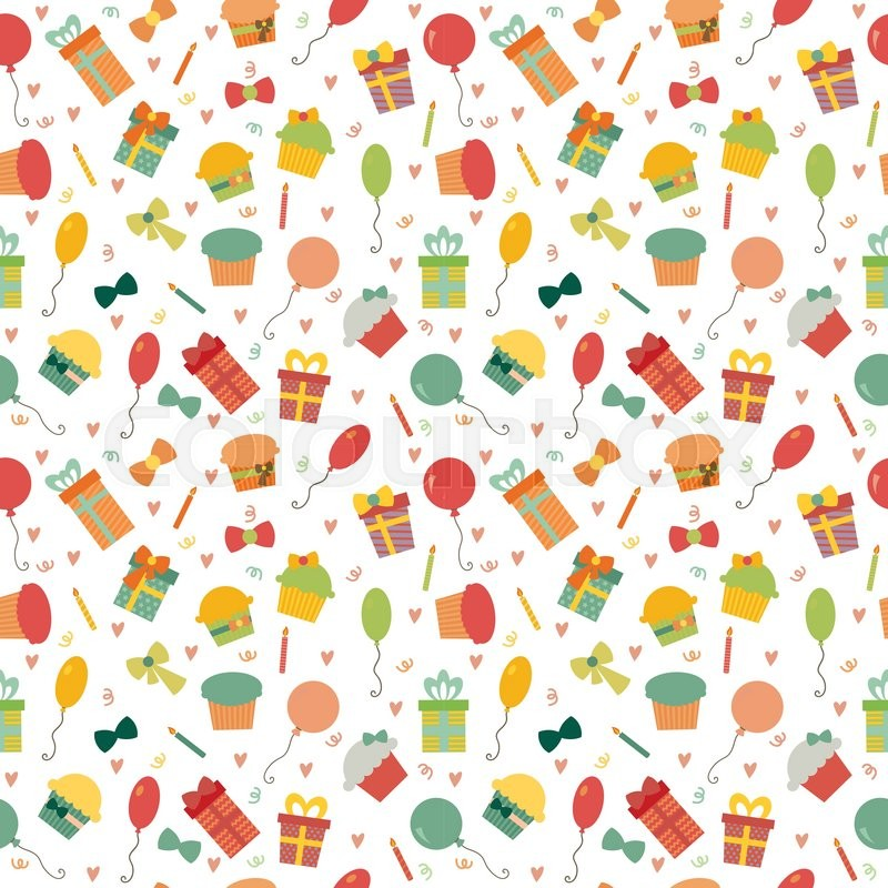Cute Happy Birthday seamless pattern with colorful party elements. Party back...