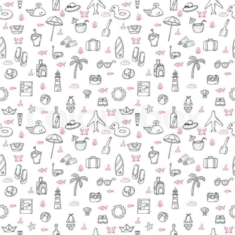 cute hand drawn summer theme seamless pattern beach theme