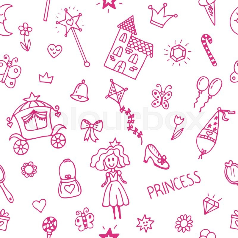 Hand drawn seamless pattern with princess girl doodle