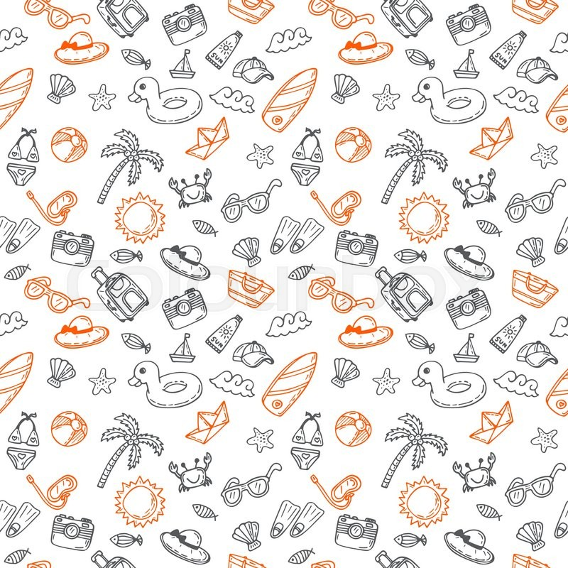 Hand drawn seamless summer pattern with beach icons ...