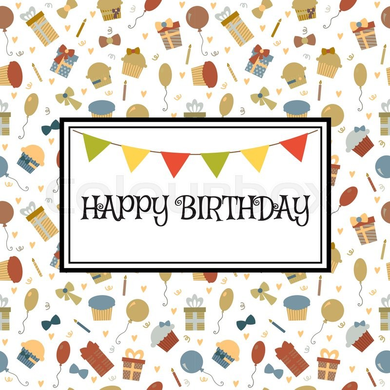 Happy birthday greeting card cute birthday background vector happy birthday greeting card cute birthday background vector illustration stock vector colourbox m4hsunfo