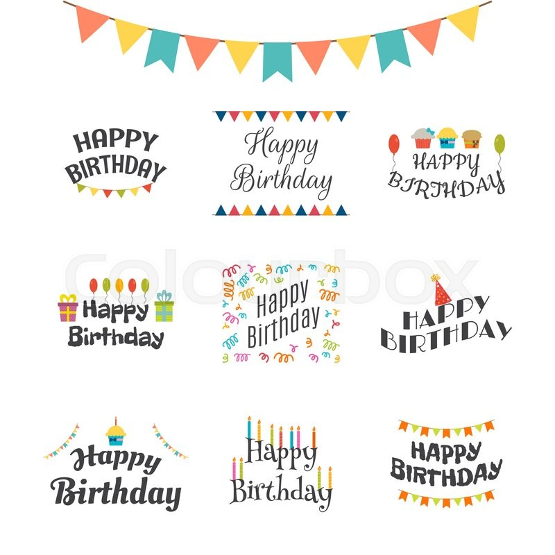 Happy birthday greeting cards birthday theme labels typography happy birthday greeting cards birthday theme labels typography design elements vector illustration stock vector colourbox m4hsunfo
