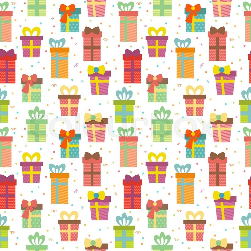 Seamless pattern with gift boxes. Cute Birthday presents