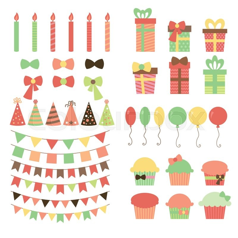 Set of birthday party design elements Colorful balloons flags
