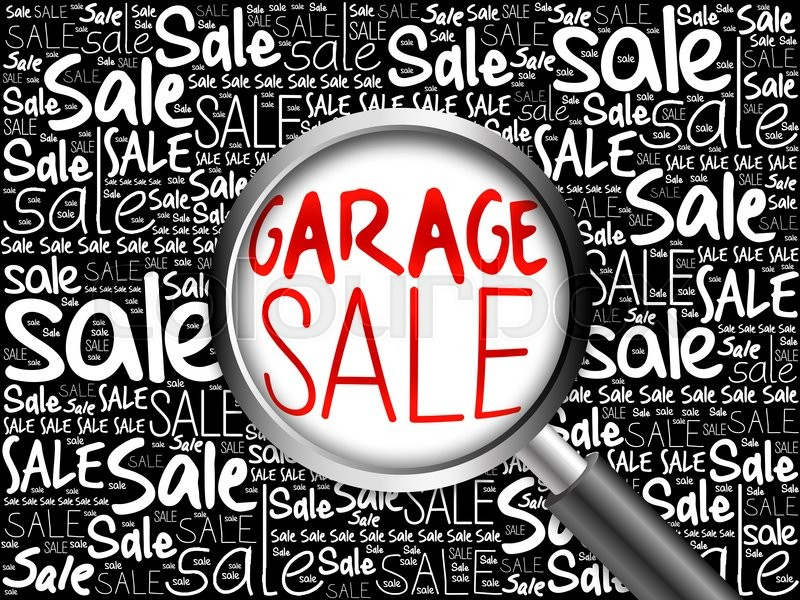 GARAGE SALE word cloud with magnifying glass, business concept, stock photo