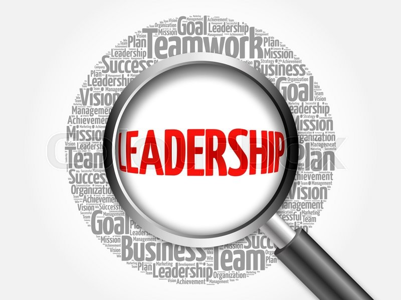leadership word cloud with magnifying glass  business